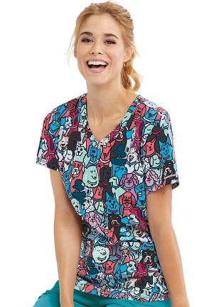 Skechers Women's Best Friend Print Scrub Top