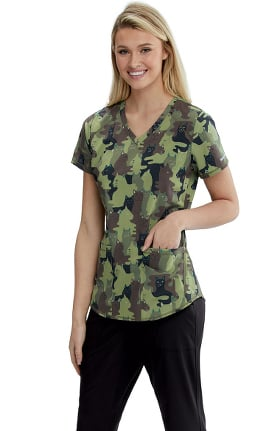 Skechers Women's Camouflage Cats Print Scrub Top