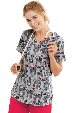 Skechers Women's Cats And Dogs Print Scrub Top