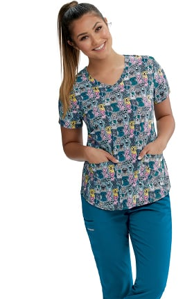 Skechers Women's Happy Dogs Print Scrub Top