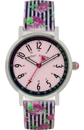 Betsey Johnson by koi Women's Striped Floral Print Surgical Grade Watch