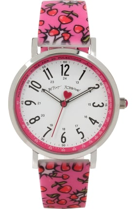 Betsey Johnson by koi Women's Cherry Heart Pow Print Surgical Grade Watch