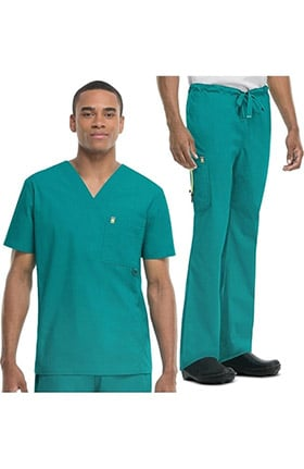 code happy Men's V-Neck Scrub Top & Cargo Scrub Pant Set