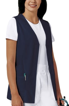 Professional Whites by Cherokee Women's Button Front Vest Solid Scrub Top