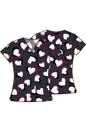 Clearance Fashion Prints by Cherokee Women's V-Neck Heart Print Scrub Top