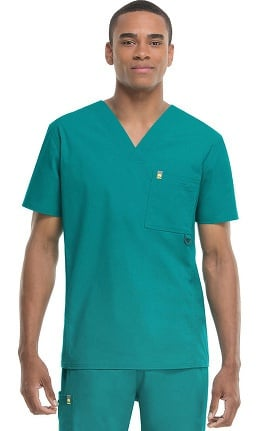 code happy Men's V-Neck Solid Scrub Top