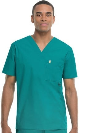 Clearance code happy Men's V-Neck Solid Scrub Top