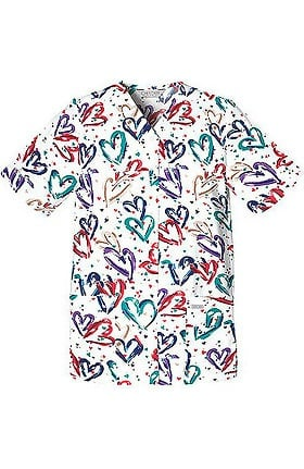 Fashion Prints by Cherokee Women's Poplin Heart Print Scrub Top