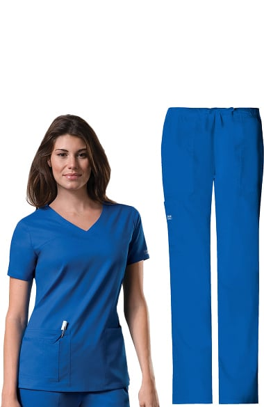 df5052fddc3 Core Stretch by Cherokee Workwear Women's V-Neck Scrub Top & Drawstring  Scrub Pa