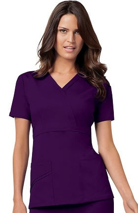 Clearance Luxe by Cherokee Women's Mock Wrap Solid Scrub Top