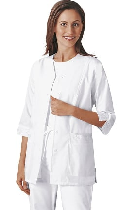 Professional Whites by Cherokee Women's Eyelet Solid Scrub Jacket