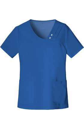 Luxe by Cherokee Women's Asymmetrical V-Neck Solid Scrub Top