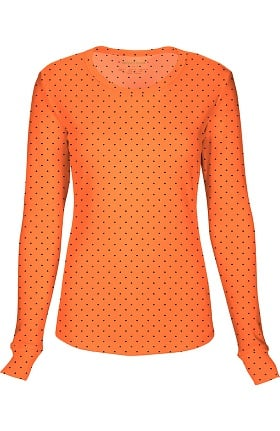 Clearance heartsoul Women's Round Neck Long Sleeve Polka Dot Print T-Shirt
