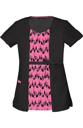 Clearance heartsoul Women's Round Neck 2Fer Cat Print Scrub Top
