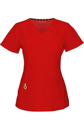 Clearance Head Over Heels by heartsoul Women's Wrapped Up V-Neck Scrub Top