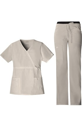 Core Stretch by Cherokee Workwear Women's Mock Wrap Scrub Top & Flare Leg Scrub Pant Set