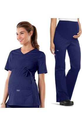 Core Stretch by Cherokee Workwear Women's Maternity Scrub Top & Scrub Pant Set