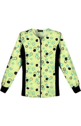 Clearance Flexibles by Cherokee Women's Zip Front Warm Up Dot Print Scrub Jacket