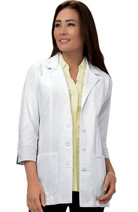 "Professional Whites by Cherokee Women's ¾ Sleeve 29"" Lab Coat with Lace Detail"