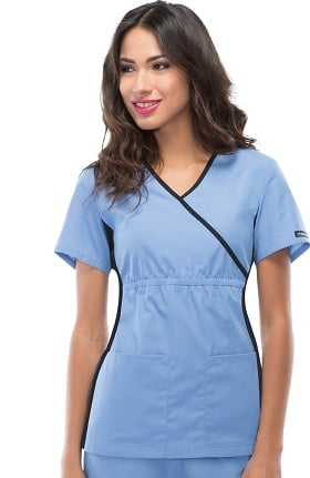 Flexibles by Cherokee Women's Mock Wrap with Contrast Knit Side Panels Solid Scrub Top