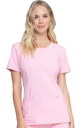 Clearance Infinity by Cherokee Women's Split Neck Scrub Top with Princess Seams