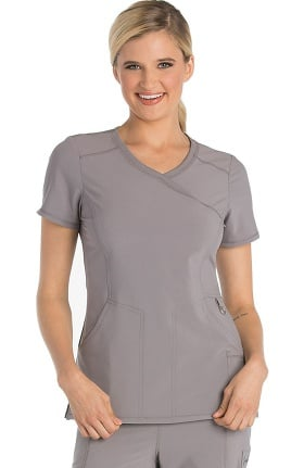 Clearance Infinity by Cherokee Women's Mock Wrap Solid Scrub Top