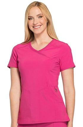 Infinity by Cherokee Women's Mock Wrap Solid Scrub Top