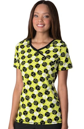 Clearance Infinity by Cherokee Women's Mock Wrap Dot Print Scrub Top