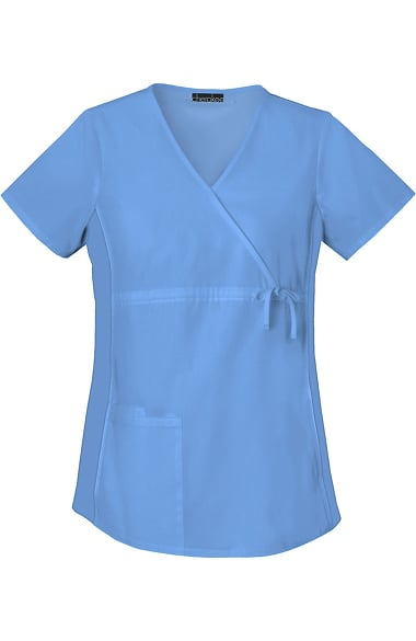 9b8b7812ff0 Flexibles by Cherokee Women's Maternity Mock Wrap with Stretch Side Panels  Solid Scrub Top. 1