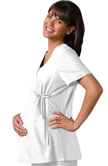 1e44bfa2938 Clearance Flexibles by Cherokee Women's Maternity Mock Wrap with Stretch  Side Panels Solid Scrub Top