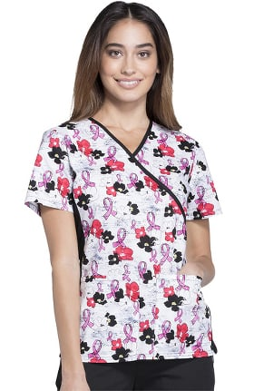 Flexibles by Cherokee Women's Mock Wrap Soft Side Panel Breast Cancer Awareness Print Scrub Top