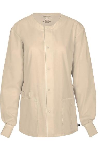 45679221561 Clearance WW Flex by Cherokee Workwear Unisex Snap Front Warm Up Solid  Scrub Jacket