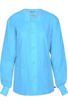 Clearance WW Flex by Cherokee Workwear Unisex Snap Front Warm Up Solid Scrub Jacket