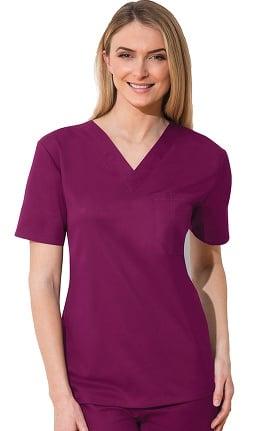 Clearance WW Flex by Cherokee Workwear Unisex Chest Pocket V-Neck Solid Scrub Top