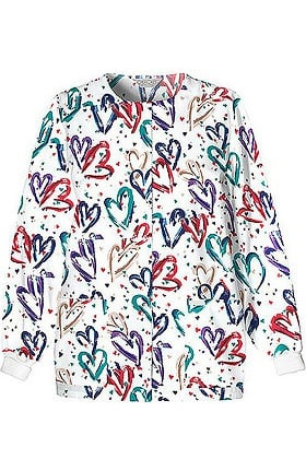 Fashion Prints by Cherokee Women's Crew Neck Warm Up Heart Print Scrub Jacket