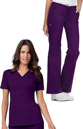 Luxe by Cherokee Women's Mock Wrap Solid Scrub Top & Drawstring Scrub Pant Set