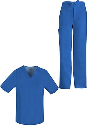 Luxe by Cherokee Men's V-Neck Solid Scrub Top & Zip Fly Scrub Pant Set