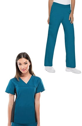 Flexibles by Cherokee Women's V-Neck Side Panel Solid Scrub Top & Elastic Waistband Cargo S