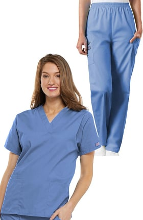 Cherokee Workwear Originals Women's V-Neck Solid Scrub Top & Elastic Waistband Cargo Scrub