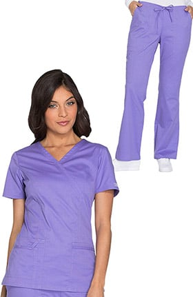 Core Stretch by Cherokee Workwear Women's Mock Wrap Solid Scrub Top & Drawstring Scrub Pant
