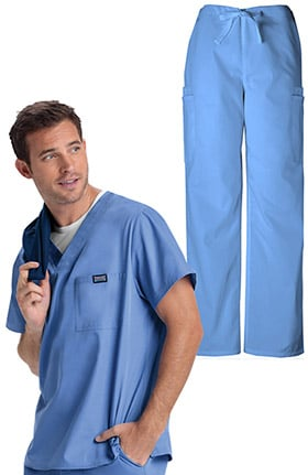 Cherokee Workwear Originals Men's V-Neck Solid Scrub Top & Drawstring Cargo Scrub Pant Set