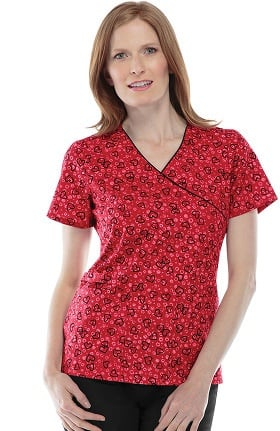 Cherokee Women's Mock Wrap Heart Print Scrub Top