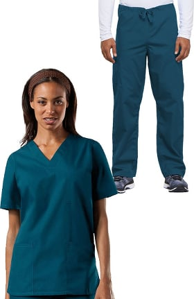 Cherokee Workwear Originals Unisex V-Neck Solid Scrub Top & Drawstring Cargo Scrub Pant Set
