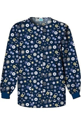 Scrub H.Q. by Cherokee Women's Crew Neck Dot Print Jacket