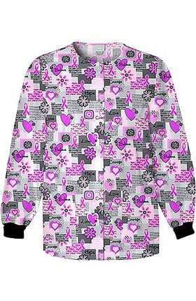 Scrub H.Q. by Cherokee Women's Crew Neck Words of Love Print Jacket