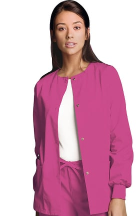 Cherokee Workwear Originals Women's Jewel Neck Warmup Solid Scrub Jacket