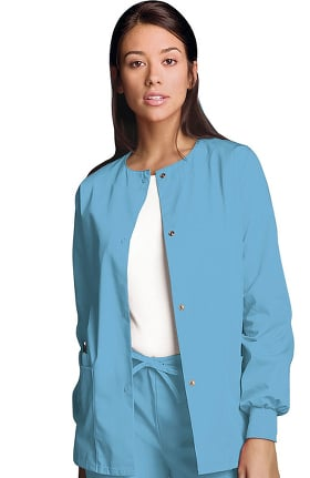 Clearance Cherokee Workwear Originals Women's Jewel Neck Warmup Solid Scrub Jacket