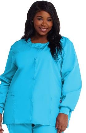 Clearance Cherokee Workwear Originals Women's Jewel Neck Warmup Solid Scrub Jacket