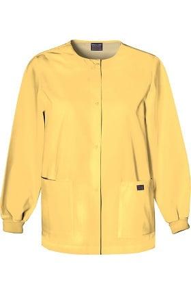Cherokee Workwear Originals Women's Jewel Neck Warmup Solid Scrub Jacket