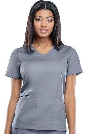 Clearance WW Flex by Cherokee Workwear Women's Mock Wrap Solid Scrub Top